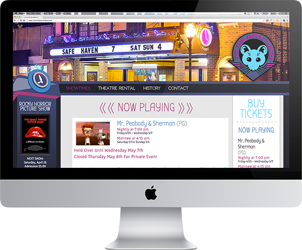 Custom Website Design - Blue Mouse Theatre Tacoma